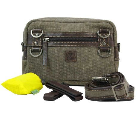 BRYHT Dart Handlebar Bag in Khaki Canvas with Raincover