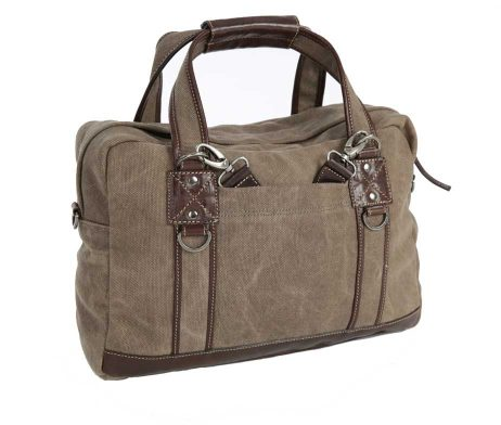 BRYHT Lydden Briefcase Pannier in Khaki Canvas Back Straps Stowed