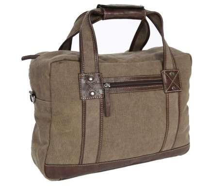 BRYHT Lydden briefcase pannier in Khaki Canvas - Front