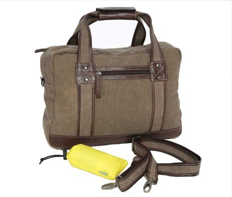 BRYHT Lydden briefcase pannier in Khaki Canvas - with raincover