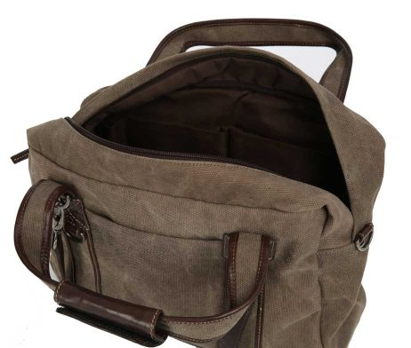 BRYHT Lydden briefcase pannier in Khaki Canvas - Interior Detail