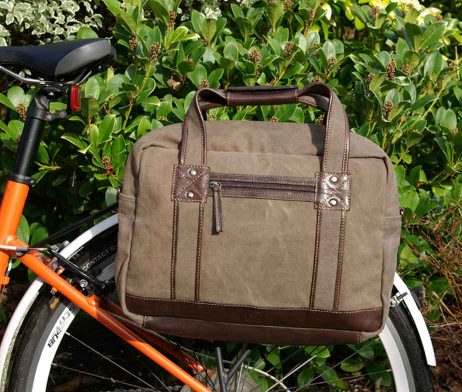 BRYHT Lydden Bike Pannier Briefcase Khaki Canvas